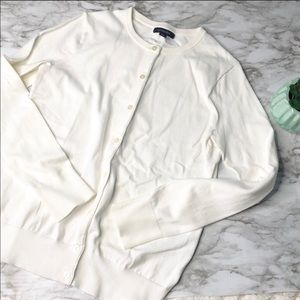 Lands End | white cardigan • xs
